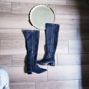 Fergalicous studded suede knee boots 6
